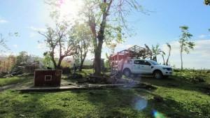 Unsre total zerstörte Ambulanzhütte