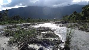 Flußbette,die sich seit demTaifun um hunderte von Metern verlagert hatten